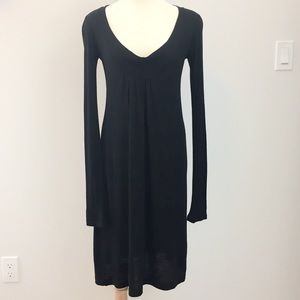 James Perse Black Wool Blend Scoop Neck Dress